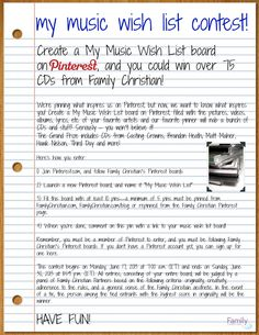 Create a My Music Wish List board on Pinterest, and you could win over 75 CDs from Family Christian! Create a My Music Wish List board on Pinterest, filled with the pictures, videos, albums, lyrics, etc. of your favorite artists and our favorite pinner will nab a bunch of CDs and stuff! Seriously – you won't believe it!  Click here for the details http://www.familychristian.com/blog/my-music-wish-list-pinterest-contest