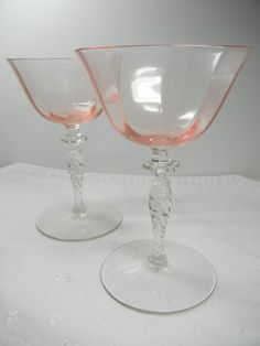 Depression Glass Stemware, pink and clear glass, pair of wine glasses, optic glass goblets. $25.00, via Etsy.