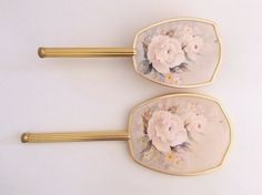 Brush and Mirror Set  Rose Print Hand Mirror by TheBirdcageVintage, $39.99 #etsy #vintage