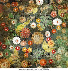 Grunge vintage floral retro design pattern old background  - stock photo