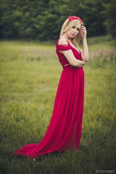 mowmimoniska: Czerwona sukienka maxi - sesja