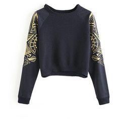 Chicnova Fashion Embroidery Splice Slim Fit Knitwear