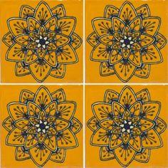 Yellow Peacock Flower Talavera Mexican Tile
