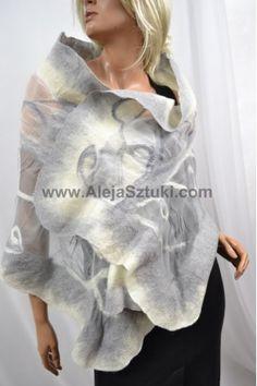 Nuno felted Silk shawl gray with ecru