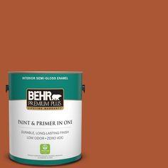 BEHR Premium Plus 1-gal. #S-H-220 Summer Heat Zero VOC Semi-Gloss Enamel Interior Paint