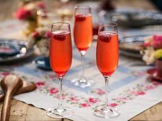 """Raspberry Prosecco Cocktail (Honoring Nonnie) - Valerie Bertinelli, """"Valerie's Home Cooking"""" on the Food Network. Prosecco Cocktails, Cocktail Drinks, Cocktail Recipes, Martinis, Bar Drinks, Yummy Drinks, Valerie's Home Cooking Recipes, Cooking Food, Cocktail Saint Valentin"""