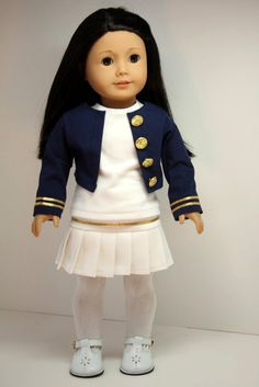 American Girl Doll Clothes-Nautical Outfit-Jacket, Pleated Skirt, Top and Tights