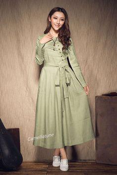 Long Linen Dress in Green / Long Linen winter by camelliatune