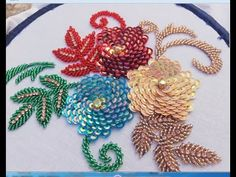 flower embroidery with beads ,beads work Diy Embroidery Patterns, Basic Embroidery Stitches, Hand Embroidery Videos, Hand Embroidery Flowers, Couture Embroidery, Embroidery Bags, Flower Embroidery Designs, Embroidery Jewelry, Beaded Embroidery
