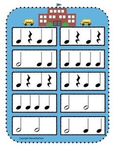 New FREEBIE on TPT - Back to School Rhythm Game. First person to clap all of their rhythms correctly and reach the school wins! This would be a great activity for those first lessons of the year. Music Education Games, Music Activities, Teaching Music, Music Games, School Songs, Music School, Elementary Choir, Piano Lessons For Kids, Rhythm Games