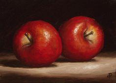 Red Apples, J Palmer Daily painting Original oil still life Art