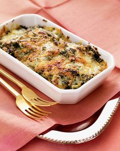 Swiss-Chard Gratin    A gratin of Swiss chard topped with cheese is a luxurious alternative to creamed spinach. The greens are first simmered, then baked with a rich topping of Gruyère and Parmesan.