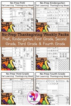 No-Prep Thanksgiving Themed Weekly Packs for PreK, Kindergarten, First Grade, Second Grade, Third Grade & Fourth Grade with 5 days of activities to do for each grade level - These are great for… More