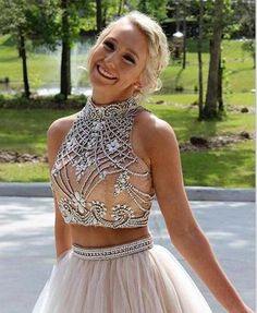 Champagne homecoming dresses High Neck beaded crystal short mini prom dresses party gown