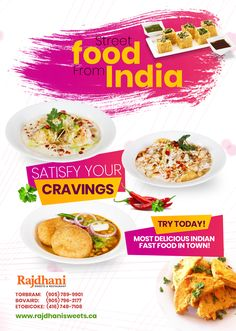 Rajdhani Sweets & Restaurant - one of the best Indian vegetarian food restaurant in Brampton, Etobicoke, Torbram, Bovaird. Indian Fast Food, Indian Food Recipes, Vegetarian Recipes, Street Food, Cravings, Sweets, Restaurant, Pure Products, Snacks