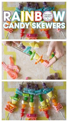Looking for a bright colored and party perfect DIY? Make these happy and fun Rainbow Candy Skewers. They are perfect for a PRIDE party or a Rainbow Princess Birthday Party too. This is a no bake, no cook, 15 minute recipe. Skewer Recipes, Bento Recipes, Cute Snacks, Cute Food, Diy For Kids, Crafts For Kids, Rainbow Candy, Red Candy, Inspiration For Kids