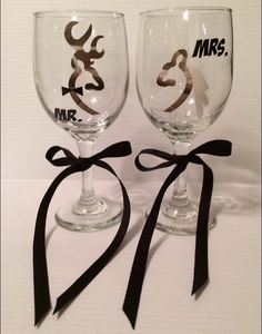 A personal favorite from my Etsy shop https://www.etsy.com/listing/271080163/camo-buck-doe-deer-wine-glasses-set-of