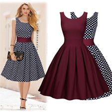 Women's Sleeveless Polka Dot Evening Cocktail Business Party Casual Swing Dress