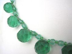 Czech Glass Beaded Necklace - Emerald Green Glass