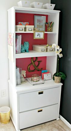 Burlap & Lace: Project Office: Pink and White Cabinet Makeover.