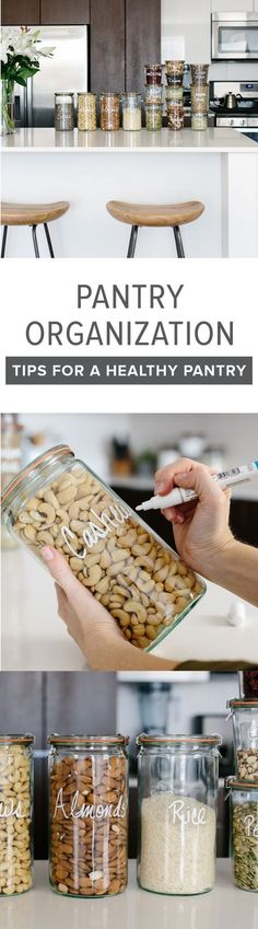 Pantry organization ideas - I've got several tips for creating a healthy pantry and moving all your storage containers to glass jars. #kitchenorganization