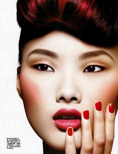 red nails beauty-Vogue China- October 2009 4 beautiful model lipstick #makeup