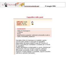 "Cappelline mille gusti - ""Trovaricette.net"" Maggio 2006"