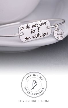 """A stainless steel rectangle measuring 1 inch across is engraved with the words """"so do not fear, for I am with you"""". Shop modern religious jewelry and inspirational gifts at Love, Georgie today! Personalized Jewelry, Custom Jewelry, Handmade Jewelry, I Love Jewelry, Jewelry Making, Teen Jewelry, Or Rose, Rose Gold, Premier Designs Jewelry"""
