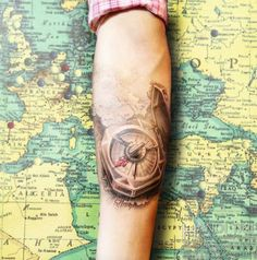 Finest Compass Tattoo Designs, Meanings Collection] - Part 7 Vintage Compass Tattoo, Compass And Map Tattoo, Simple Compass Tattoo, Nautical Compass Tattoo, Geometric Compass, Compass Tattoo Design, Map Compass, Map Tattoos, Forearm Tattoos