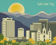 Salt Lake City, Utah Skyline and LDS Temple  Illustration - Horizontal Wall Art Poster Print for Home, Office, and Gifts - style E8-O-SA. $26.00, via Etsy.