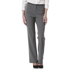Perfect your office-ready wardrobe with these women's <strong>Olivia baby boot trousers from Metaphor</strong>. These modern work pants feature a flat front with a comfortable mid-rise. The leg is cut straight, ending in a slight flare at the ankle for stylish movement. Crafted in a dobby weave, these smart pants include synthetic leather trim at the waist and back pockets.