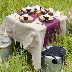 Burlap tablecloth, burgundy runner, mason jar (with straw/lid) for drinks - definitely SHRUB. Chairs?