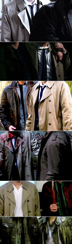 """Dean + Castiel: """"The one in the dirty trench coat, who's in love with you."""" #spn #destiel"""
