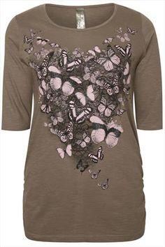 Khaki & Pink Butterfly Heart Print Slub Cotton 3/4 Sleeve T-Shirt