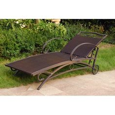 International Caravan Lisbon Wicker Contemporary Multi Position Patio Chaise Lounge. Stylish wrought iron alfresco chaise lounge. Premium resin wicker seat with beautiful text weave design. Weatherproof matte brown finish with UV light fading protection. Choose from a variety of finish options. Chaise dimensions: 73L x 26W x 27H inches.