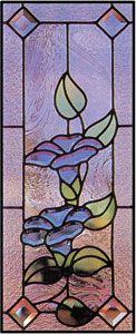 Blue Morning Glory Bevel Cluster Window