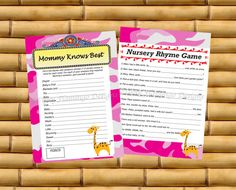 Two Pack  Printable Baby Shower Game  by TipsyFlamingoDesigns