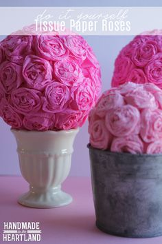 DIY Tissue Paper Roses are a perfectly pink Valetine's Day decor!
