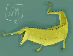"""I can swim!"" By Jason Kraft Pattern Illustration, Children's Book Illustration, Crocodile Illustration, Character Art, Character Design, Crocodile Rock, Animal Art Projects, Amazing Drawings, Animal Design"