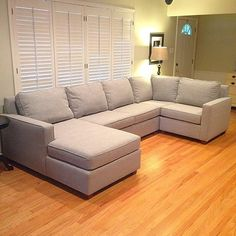 West Elm Henry sectional - dimensions would work in our narrow, long living room and create more seating Narrow Rooms, Narrow Living Room, New Living Room, Home And Living, Living Room Decor, Comfy Sectional, Living Room Sectional, Couches, Corner Sofa Design