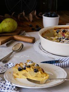 Tarta francesa de peras y arándanos