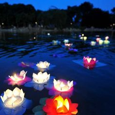 Paper Flower Lotus Floating River Water Candle Light