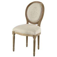 Chaise médaillon en lin naturel brodé et chêne grisé