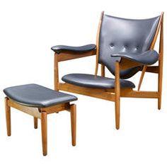 Finn Juhl Walnut Teak Chieftain Chair and Ottoman for Baker