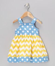 Yellow & Blue Chevron Polka Dot Jumper