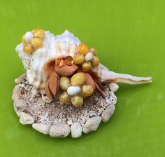 ヤドカリちゃん*Mサイズ*花をかかえて*珊瑚砂の台座
