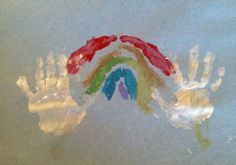 """rainbow handprint art fun spring crafts for kids great activity for """"A Rainbow of My Own"""" by Don Freeman"""