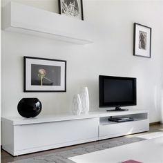 Meuble salon mural laqu blanc achat vente meubles salon muraux laqu s blan - Meuble bas laque blanc ikea ...