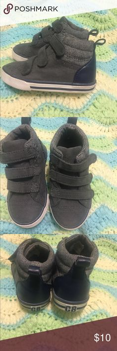 Crazy 8 gray  hightop sneakers Crazy 8 grey high top sneezing with a hint of blue .. very stylish and practical they don't have lace so they are perfect for a new walker. Velcro closing Gymboree Shoes Sneakers