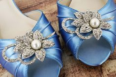 Blue Wedding Shoes Cornflower Blue Shoes by EllieWrenWeddingShoe